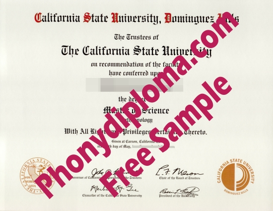 Usa California State University Dominguez Hills Free Sample From Phonydiploma