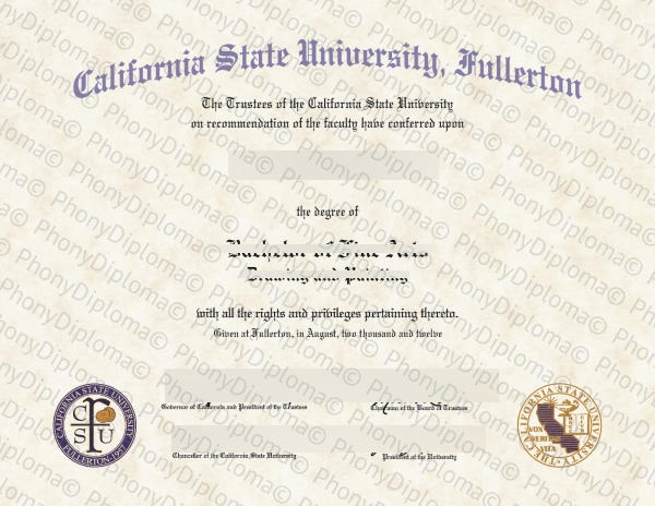Usa California State University Fullerton Free Sample From Phonydiploma