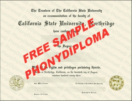 Usa California State University Northridge Fake Diploma Sample