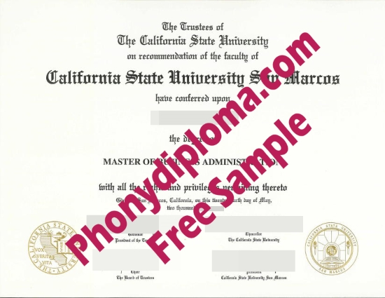 Usa California State University San Marcos Free Sample From Phonydiploma