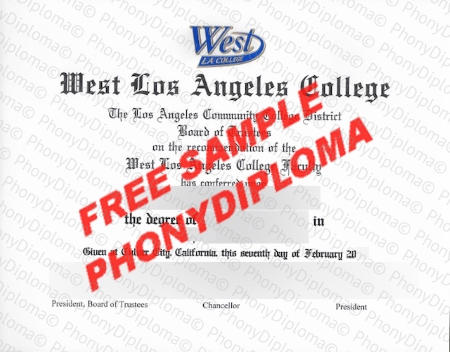 Usa California West Los Angeles College Fake Diploma Sample