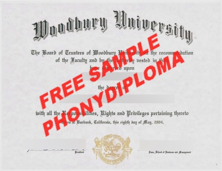 Usa California Woodbury University Free Sample From Phonydiploma