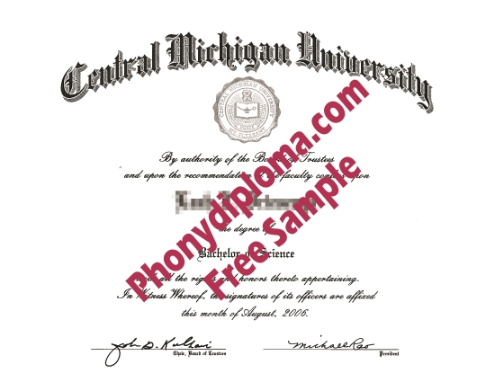 Usa Central Michigan University Free Sample From Phonydiploma