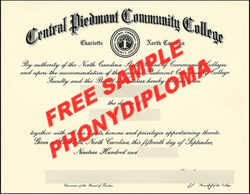 Usa Central Piedmont Community College Free Sample From Phonydiploma