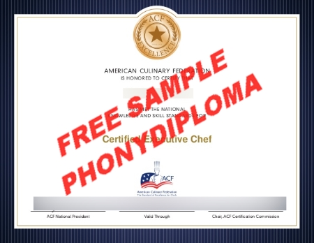 Usa Certified Executive Chef Culinary Free Sample From Phonydiploma
