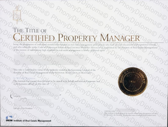 Usa Certified Property Manager Free Sample From Phonydiploma