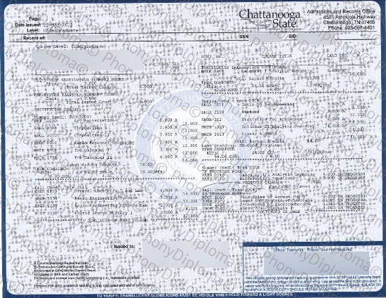 Usa Chattanooga State Community College Actual Match Transcript Phonydiploma