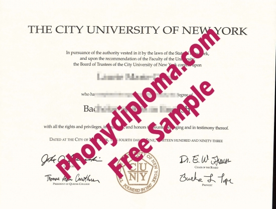 Usa City University Of New York Scan Free Sample From Phonydiploma
