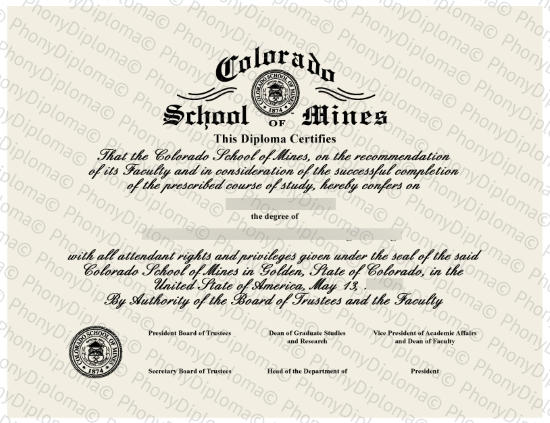 Usa Colorado School Of Mines Fake Diploma From Phonydiploma