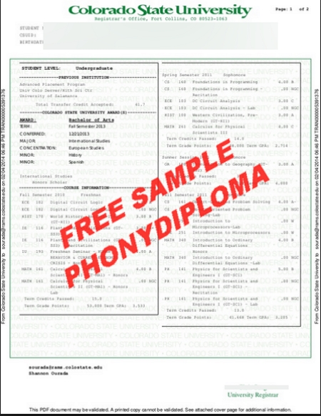 Usa Colorado State University Actual Match Transcript Free Sample From Phonydiploma