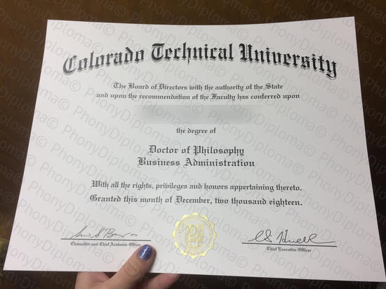 Usa Colorado Technical University Photo Free Sample From Phonydiploma