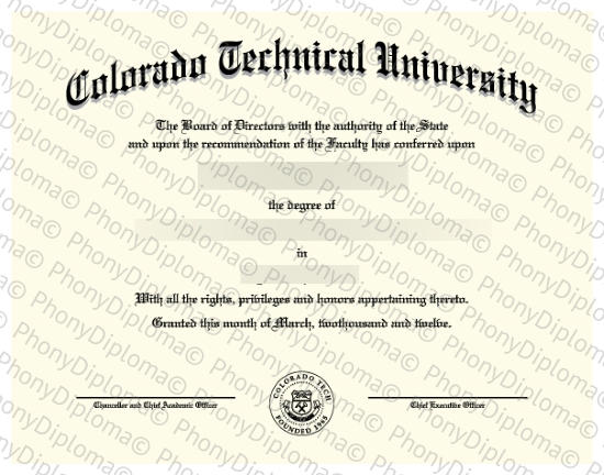 Usa Colorado Technical University Free Sample From Phonydiploma