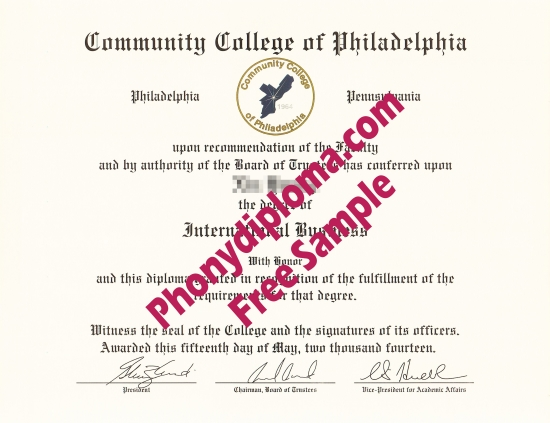 Usa Community College Of Philadelphia Free Sample From Phonydiploma
