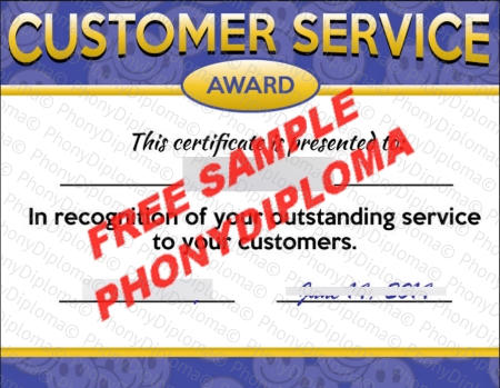 Usa Customer Service Award Certificate Fake Diploma Sample