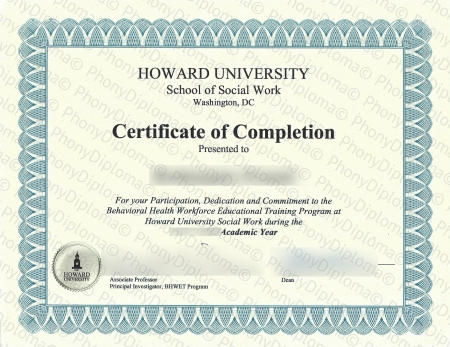 Usa Dc Howard University Certificate Social Work Free Sample From Phonydiploma