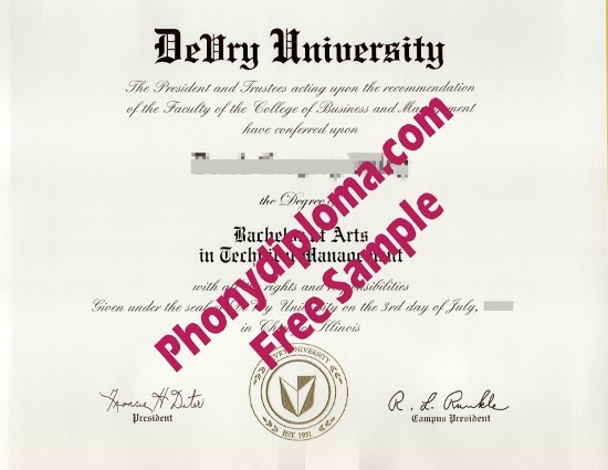 Usa Devry University De Vry Free Sample From Phonydiploma