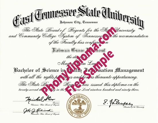 Usa East Tennessee State University Free Sample From Phonydiploma