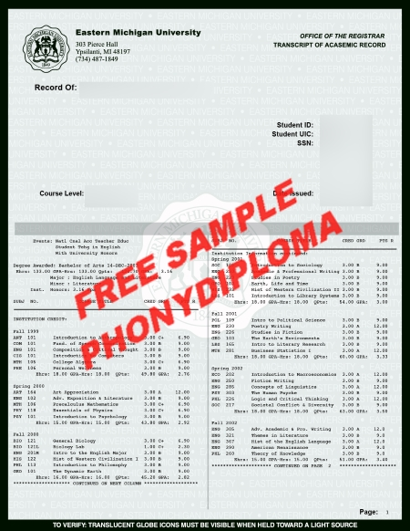 Usa Eastern Michigan Actual Match Transcript Free Sample From Phonydiploma