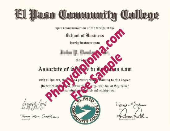 Usa El Paso Community College Free Sample From Phonydiploma
