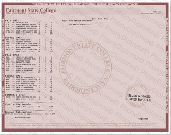 Usa Fairmont State College Actual Match Transcript Free Sample From Phonydiploma