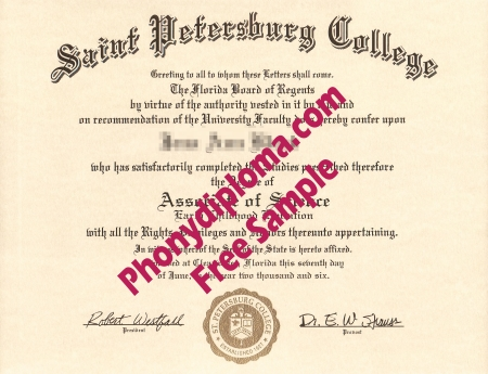 Usa Florida Saint Petersburg College Free Sample From Phonydiploma