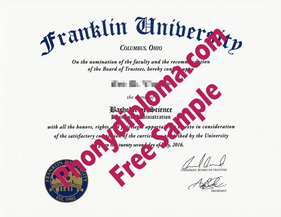 Usa Franklin University Free Sample From Phonydiploma