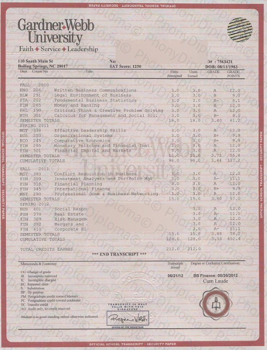 Usa Gardner Webb University House Match Transcript Free Sample From Phonydiploma