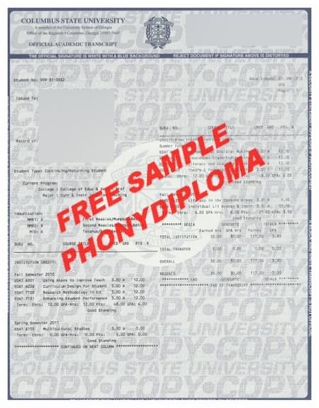 Usa Georgia Columbus State University Actual Match Transcript Free Sample From Phonydiploma