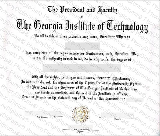 Usa Georgia Institute Of Technology Fake Diploma From Phonydiploma