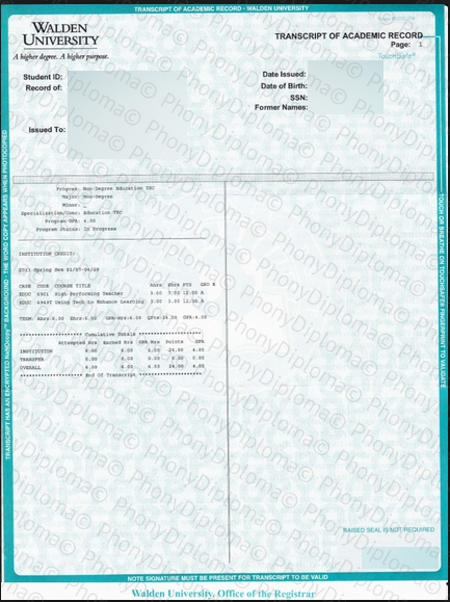 Usa Georgia Walden University Actual Match Transcript Free Sample From Phonydiploma