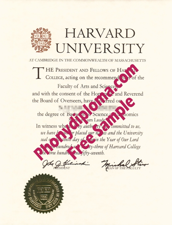 Usa Harvard University Free Sample From Phonydiploma