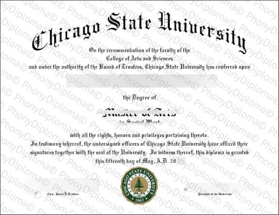 Usa Illinois Chicago State University Free Sample From Phonydiploma
