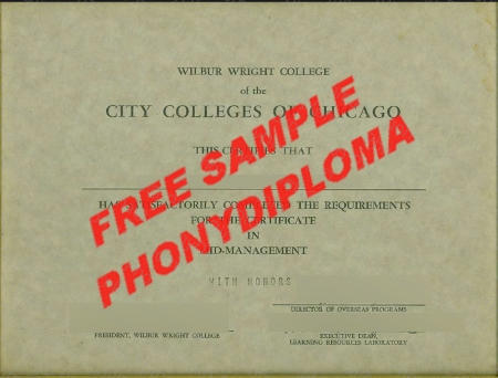 Usa Illinois City College Of Chicago Any Campus Fake Diploma Sample
