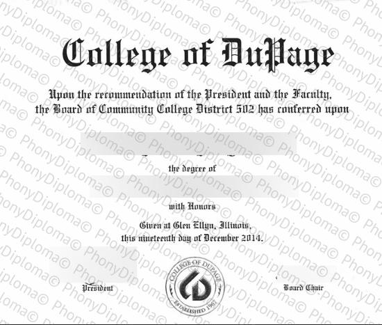 Usa Illinois College Of Dupage Free Sample From Phonydiploma