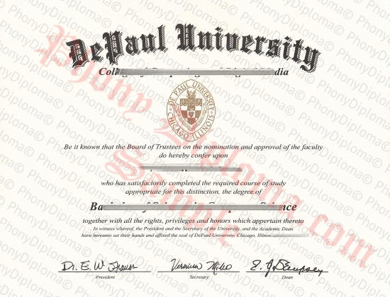 Usa Illinois Depaul University Free Sample From Phonydiploma