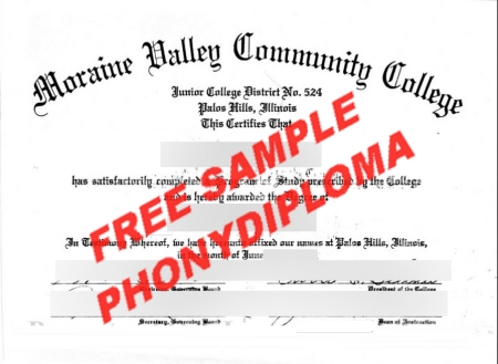 Usa Illinois Moraine Valley Community College Free Sample From Phonydiploma