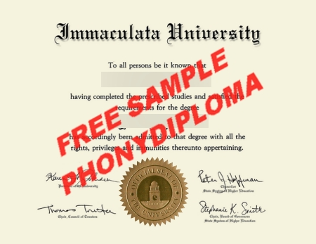 Usa Immaculata University Free Sample From Phonydiploma