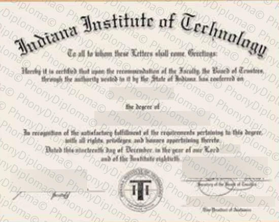 Usa Indiana Institute Of Technology Free Sample From Phonydiploma