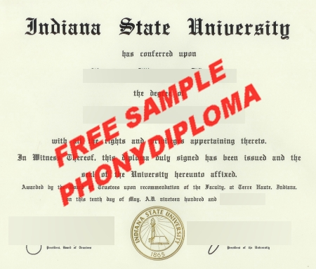 Usa Indiana State University Free Sample From Phonydiploma