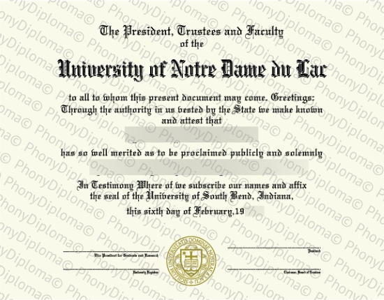 Usa Indiana University Of Notre Dame Free Sample From Phonydiploma