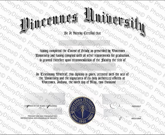 Usa Indiana Vincennes University Free Sample From Phonydiploma