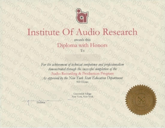 Usa Institute Of Audio Research Free Sample From Phonydiploma