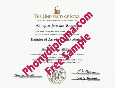 Usa Iowa University Of Iowa Free Sample From Phonydiploma