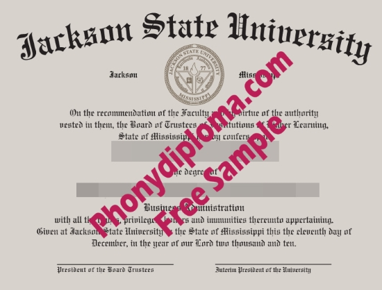 Usa Jackson State University Free Sample From Phonydiploma