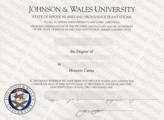 Usa Johnson & Wales University Free Sample From Phonydiploma