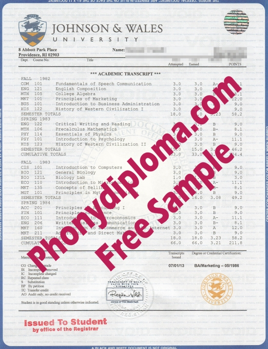 Usa Johnson & Wales University House Match Transcript Free Sample From Phonydiploma