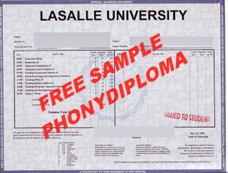Usa Lasalle University Actual Match Transcript Free Sample From Phonydiploma
