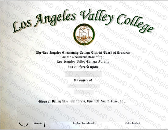 Usa Los Angeles Valley College Free Sample From Phonydiploma