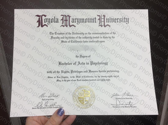 Usa Loyola Marymount University Free Sample From Phonydiploma