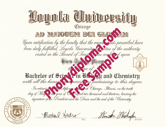 Usa Loyola University Chicago Illinois Free Sample From Phonydiploma